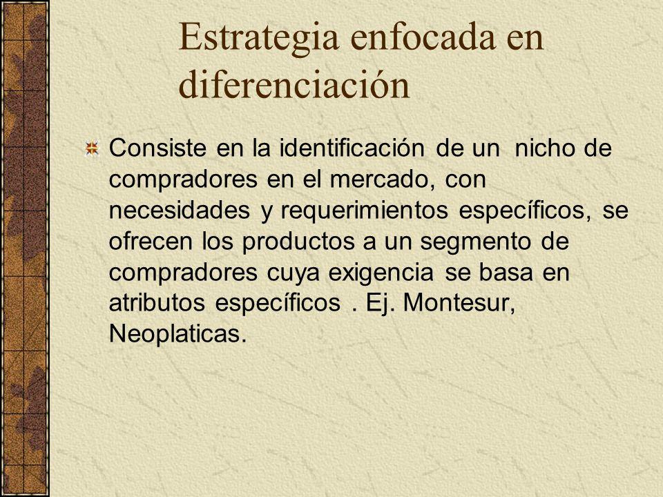 Estrategia enfocada en diferenciación Consiste en la identificación de un nicho de compradores en el mercado, con necesidades y requerimientos específ