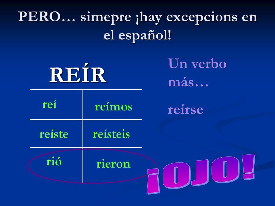 PERO… simepre ¡hay excepcions en el español! REÍR reí reíste rió reímos reísteis rieron Un verbo más… reírse
