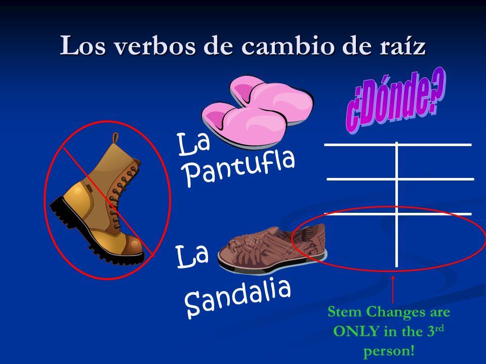 Los verbos de cambio de raíz La Pantufla La Sandalia Stem Changes are ONLY in the 3 rd person!
