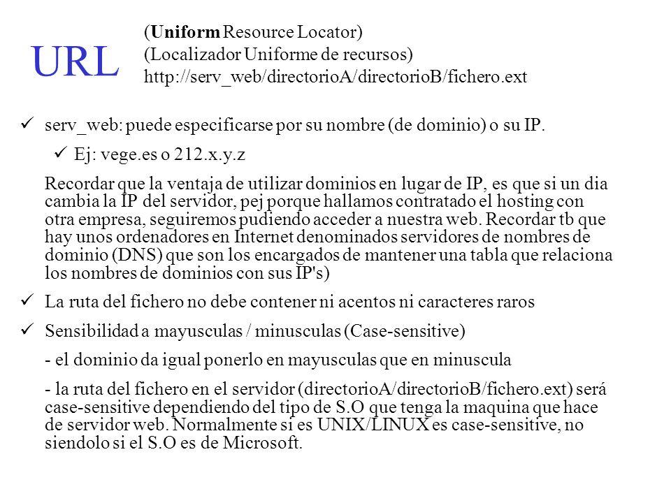 (Uniform Resource Locator) (Localizador Uniforme de recursos) http://serv_web/directorioA/directorioB/fichero.ext serv_web: puede especificarse por su