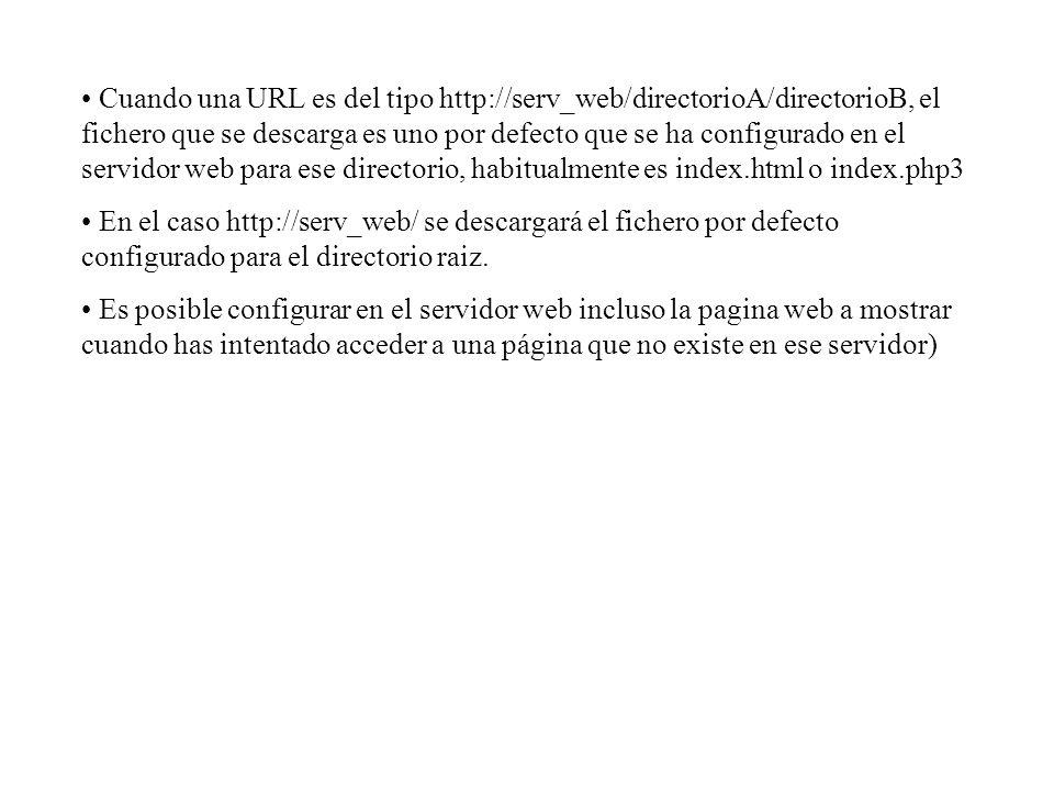 Cuando una URL es del tipo http://serv_web/directorioA/directorioB, el fichero que se descarga es uno por defecto que se ha configurado en el servidor