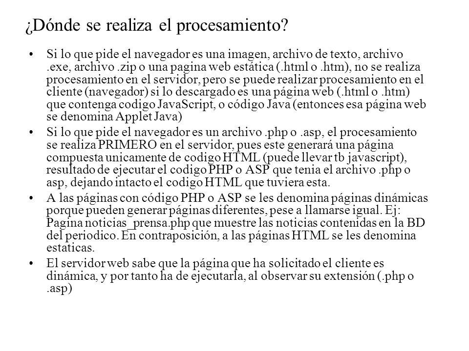 Una vez el navegador recibe la pagina web estática (.html,.htm) o dinámica (.php,.asp), empieza a interpretarla y mostrarla en pantalla.
