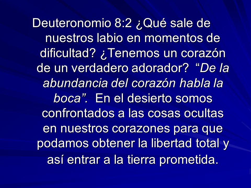 Deuteronomio 8:2 ¿Qué sale de nuestros labio en momentos de dificultad? ¿Tenemos un corazón de un verdadero adorador? De la abundancia del corazón hab