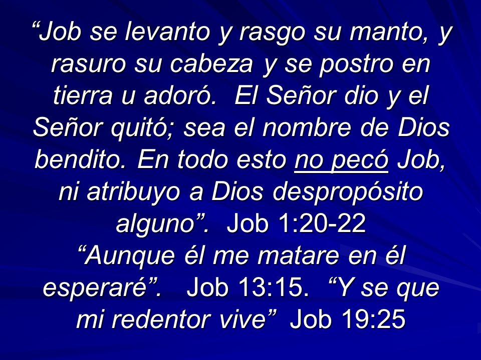 Job se levanto y rasgo su manto, y rasuro su cabeza y se postro en tierra u adoró. El Señor dio y el Señor quitó; sea el nombre de Dios bendito. En to