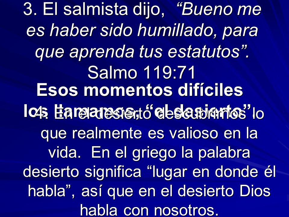 3. El salmista dijo, Bueno me es haber sido humillado, para que aprenda tus estatutos. Salmo 119:71 Esos momentos difíciles los llamamos, el desierto.