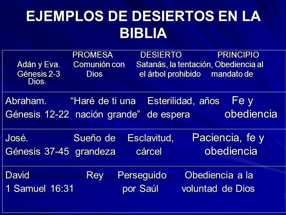EJEMPLOS DE DESIERTOS EN LA BIBLIA PROMESA DESIERTOPRINCIPIO PROMESA DESIERTOPRINCIPIO Adán y Eva. Comunión con Satanás, la tentación, Obediencia al G