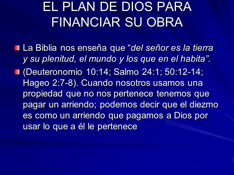 EL PLAN DE DIOS PARA FINANCIAR SU OBRA.
