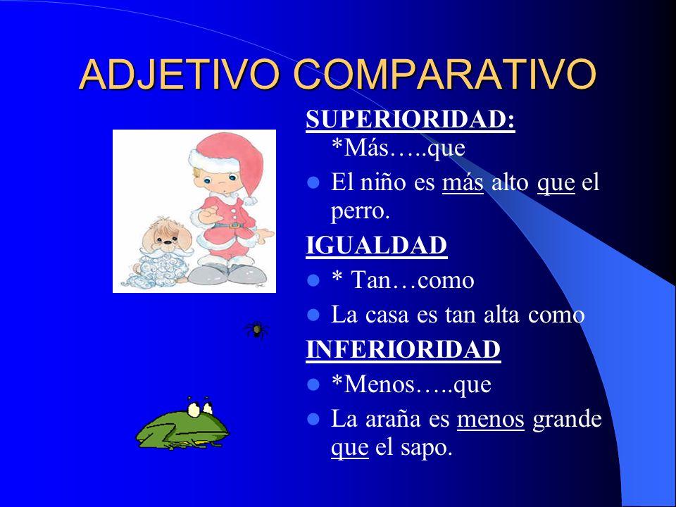 ADJETIVO COMPARATIVO SUPERIORIDAD: *Más…..que El niño es más alto que el perro. IGUALDAD * Tan…como La casa es tan alta como INFERIORIDAD *Menos…..que