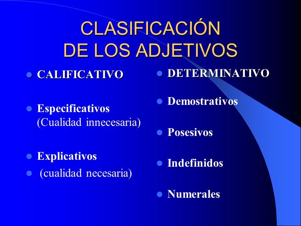 CLASIFICACIÓN DE LOS ADJETIVOS CALIFICATIVO CALIFICATIVO Especificativos (Cualidad innecesaria) Explicativos (cualidad necesaria) DETERMINATIVO DETERM