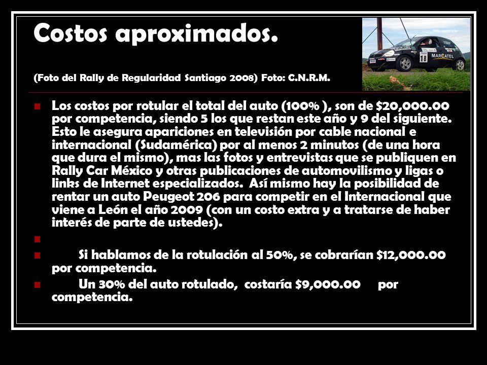 Costos aproximados. (Foto del Rally de Regularidad Santiago 2008) Foto: C.N.R.M. Los costos por rotular el total del auto (100% ), son de $20,000.00 p