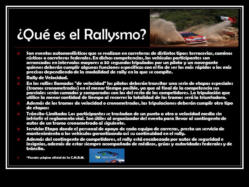 ¿Qué es el Rallysmo? Son eventos automovilísticos que se realizan en carreteras de distintos tipos: terracerías, caminos rústicos o carreteras federal