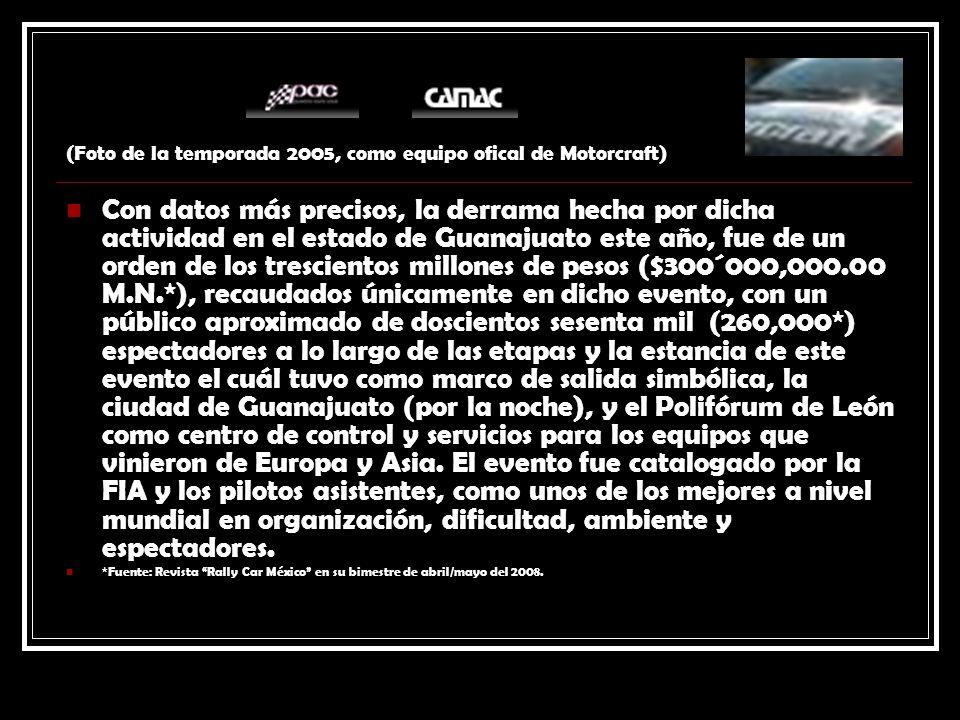 (Foto de la temporada 2005, como equipo ofical de Motorcraft) Con datos más precisos, la derrama hecha por dicha actividad en el estado de Guanajuato