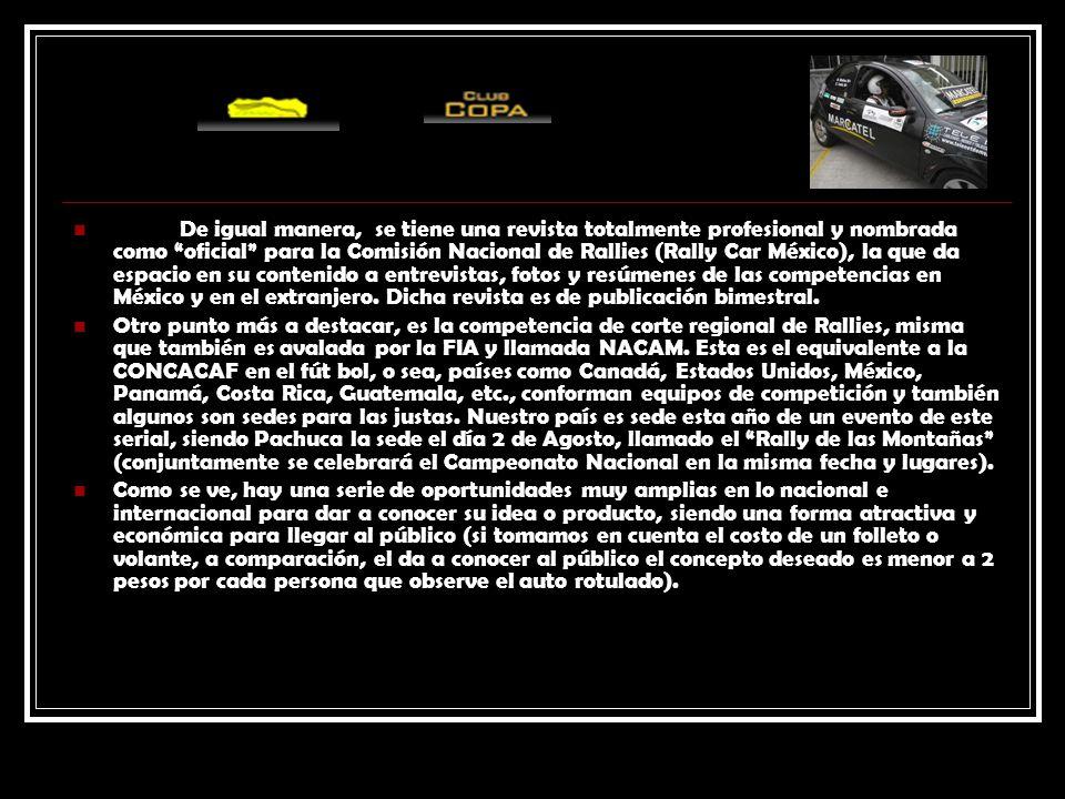 De igual manera, se tiene una revista totalmente profesional y nombrada como oficial para la Comisión Nacional de Rallies (Rally Car México), la que d
