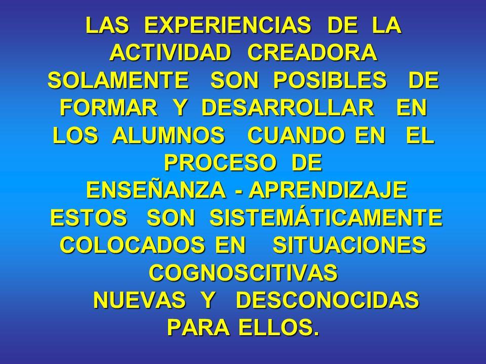 EXPERIENCIAS DE LA ACTIVIDAD CREADORA - RESOLUCIÓN DE PROBLEMAS. - RECONOCIMIENTO DE NUEVOS PROBLEMAS. - CREACIÓN DE NUEVOS OBJETOS, VÍAS Y PROCEDIMIE