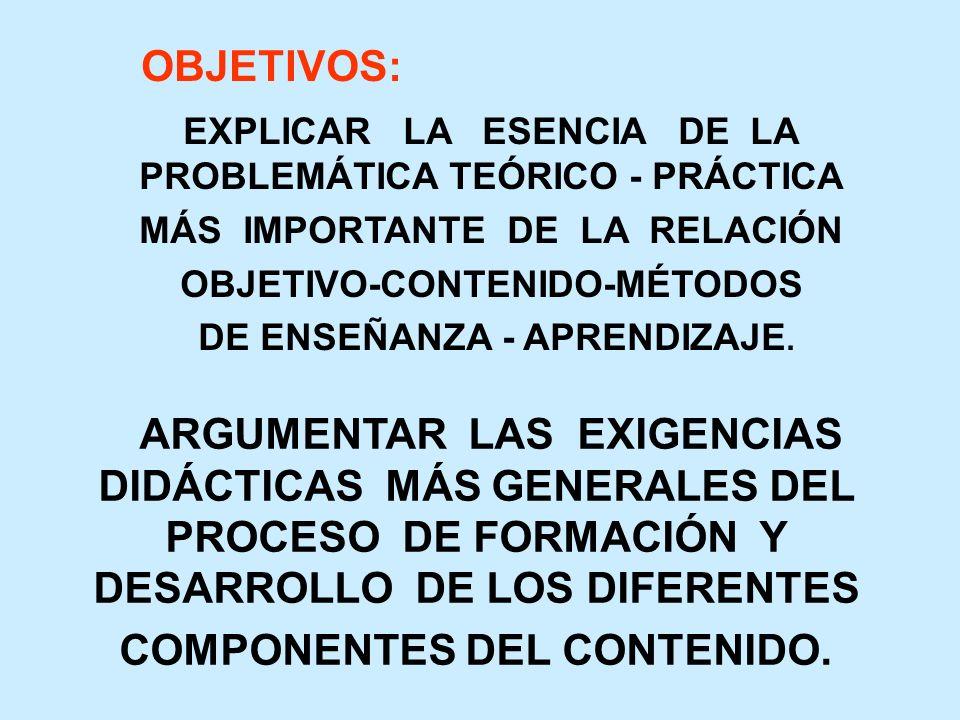 ARGUMENTAR LAS EXIGENCIAS DIDÁCTICAS MÁS GENERALES DEL PROCESO DE FORMACIÓN Y DESARROLLO DE LOS DIFERENTES COMPONENTES DEL CONTENIDO.