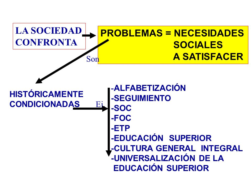 LA SOCIEDAD CONFRONTA PROBLEMAS = NECESIDADES SOCIALES A SATISFACER Son HISTÓRICAMENTE CONDICIONADAS Ej.