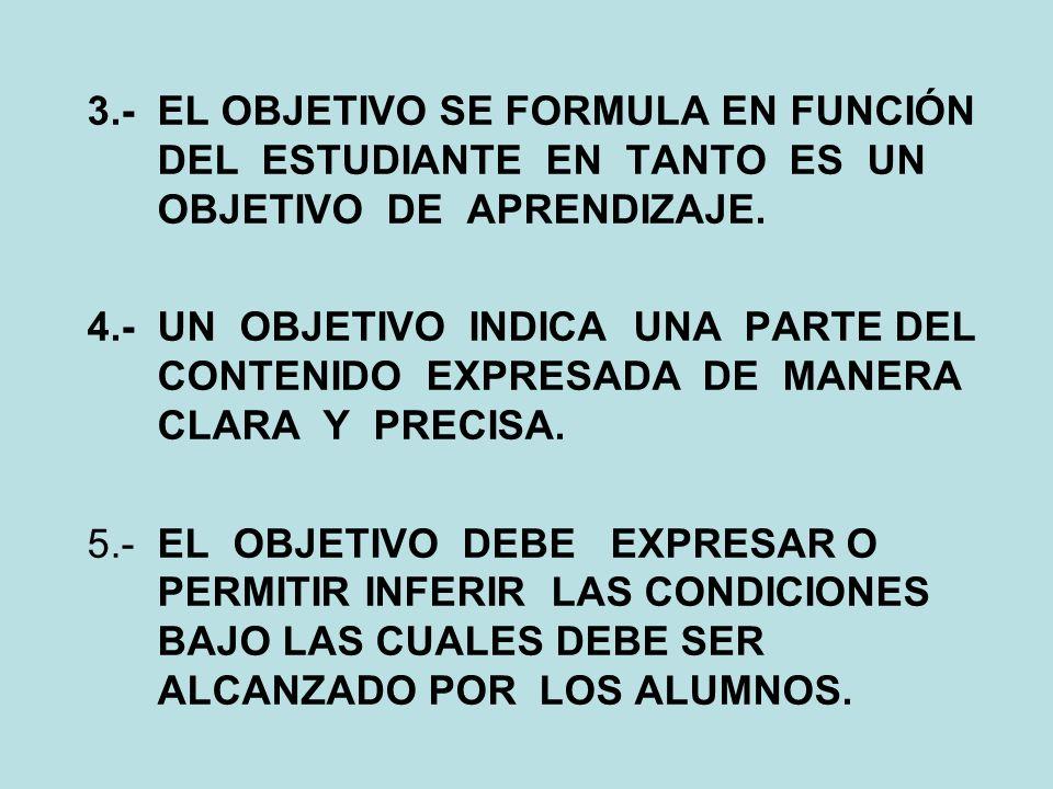 OBJETIVOS PRINCIPALES JUICIOS DE LA TEORÍA DE LOS OBJETIVOS: 1.- TODO OBJETIVO DEBE TENER UNA SOLA Y EXCLUSIVA INTENCIÓN PEDAGÓGICA. 2.- TODO OBJETIVO