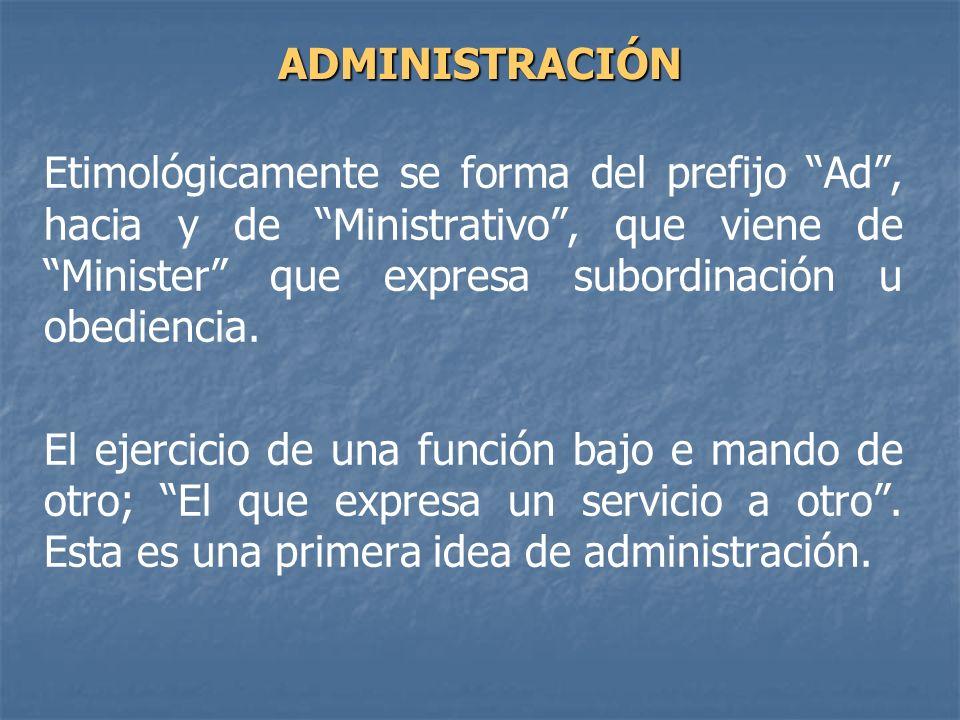 Etimológicamente se forma del prefijo Ad, hacia y de Ministrativo, que viene de Minister que expresa subordinación u obediencia. El ejercicio de una f