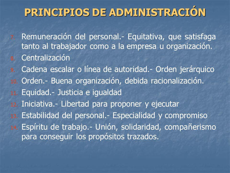 7. 7. Remuneración del personal.- Equitativa, que satisfaga tanto al trabajador como a la empresa u organización. 8. 8. Centralización 9. 9. Cadena es