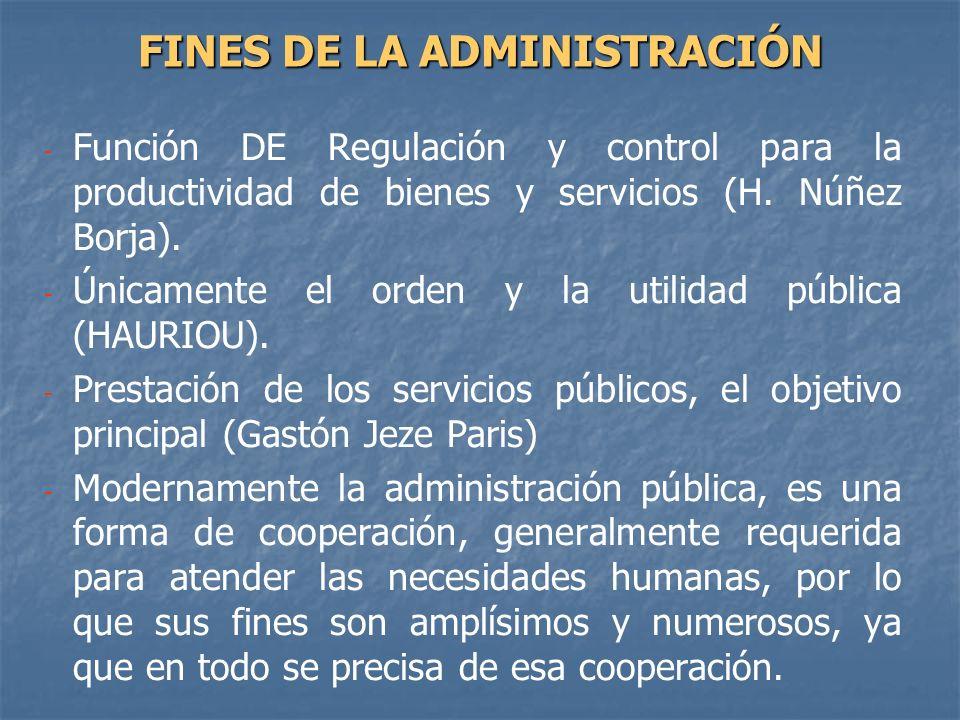 - - Función DE Regulación y control para la productividad de bienes y servicios (H. Núñez Borja). - - Únicamente el orden y la utilidad pública (HAURI