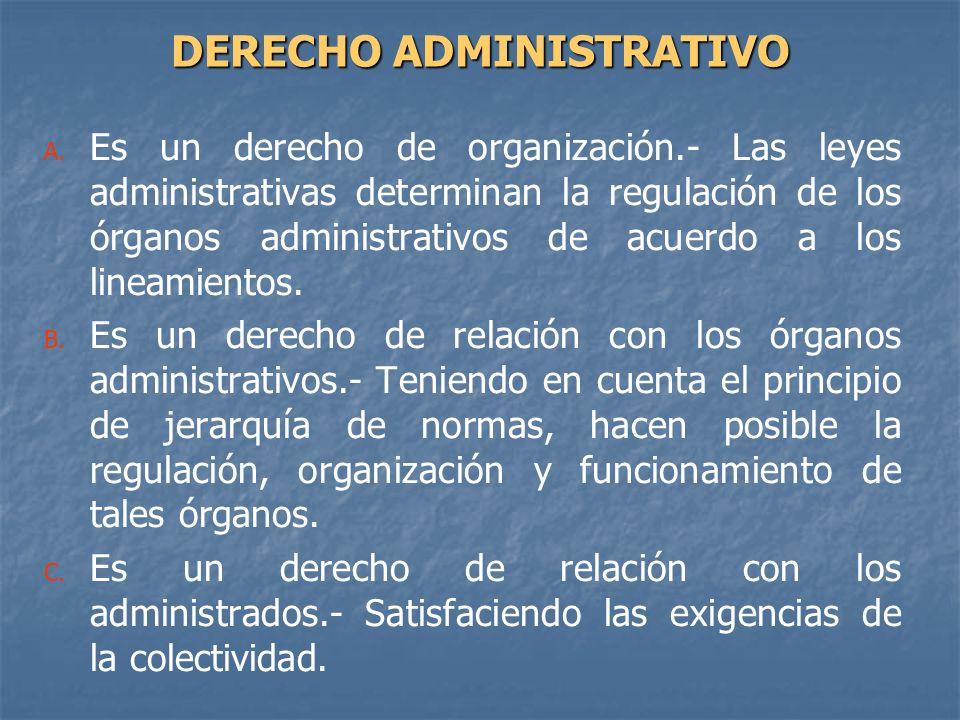 A. A. Es un derecho de organización.- Las leyes administrativas determinan la regulación de los órganos administrativos de acuerdo a los lineamientos.