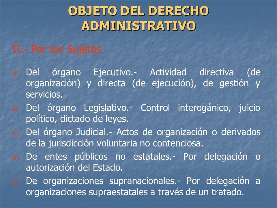 II.- Por los Sujetos a) a) Del órgano Ejecutivo.- Actividad directiva (de organización) y directa (de ejecución), de gestión y servicios. b) b) Del ór