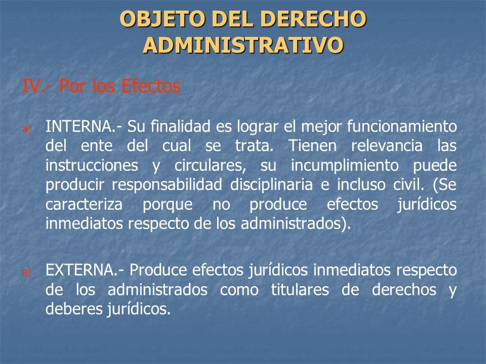 IV.- Por los Efectos a) a) INTERNA.- Su finalidad es lograr el mejor funcionamiento del ente del cual se trata. Tienen relevancia las instrucciones y