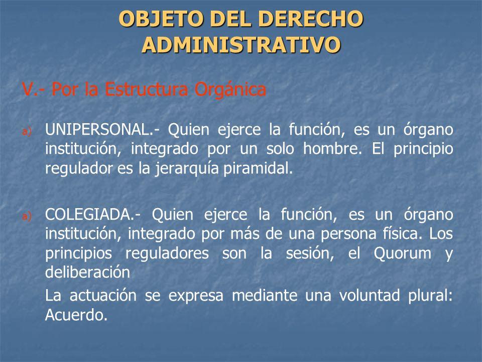 V.- Por la Estructura Orgánica a) a) UNIPERSONAL.- Quien ejerce la función, es un órgano institución, integrado por un solo hombre. El principio regul