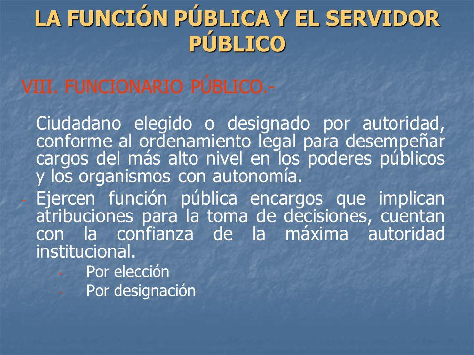VIII. FUNCIONARIO PÚBLICO.- Ciudadano elegido o designado por autoridad, conforme al ordenamiento legal para desempeñar cargos del más alto nivel en l