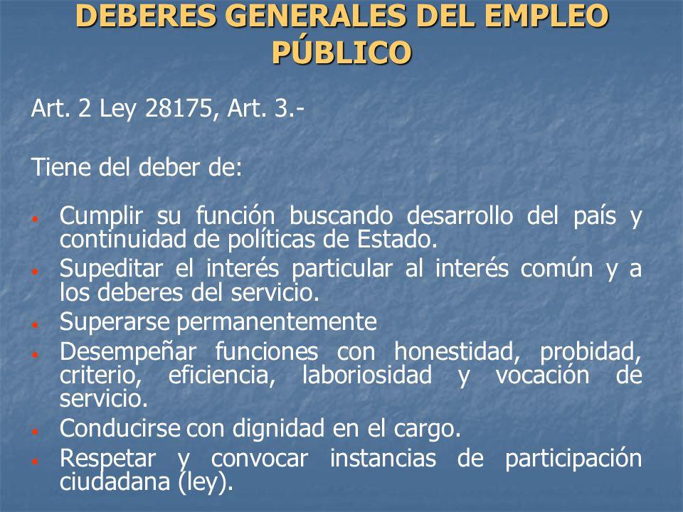 Art. 2 Ley 28175, Art. 3.- Tiene del deber de: Cumplir su función buscando desarrollo del país y continuidad de políticas de Estado. Supeditar el inte