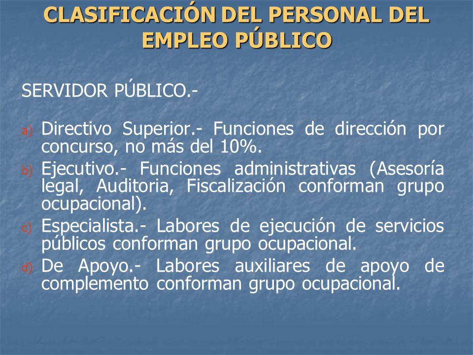 SERVIDOR PÚBLICO.- a) a) Directivo Superior.- Funciones de dirección por concurso, no más del 10%. b) b) Ejecutivo.- Funciones administrativas (Asesor