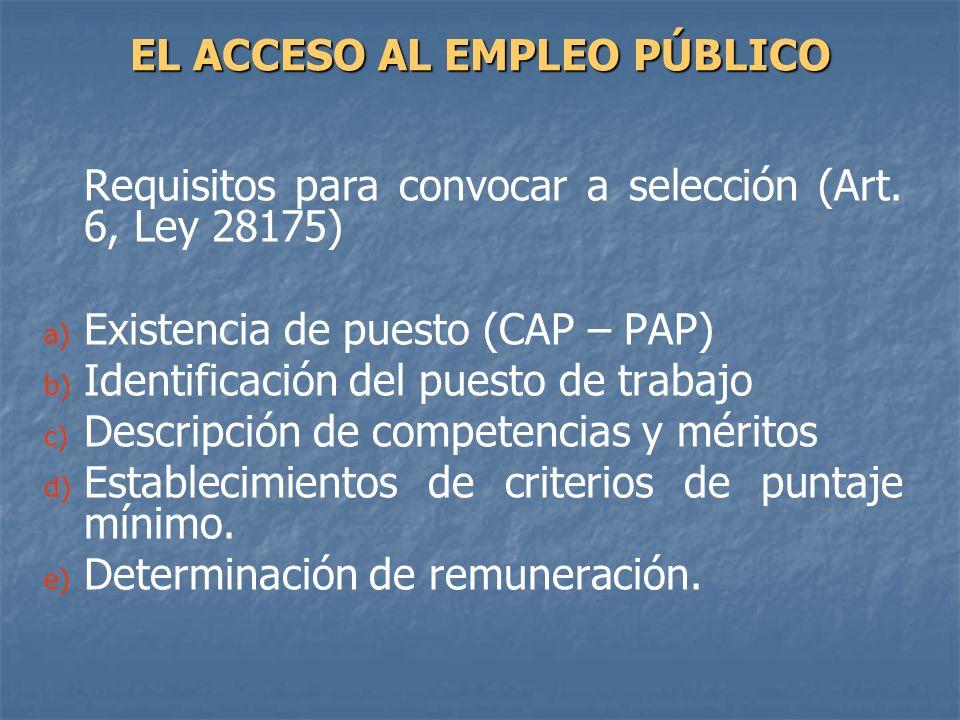 Requisitos para convocar a selección (Art. 6, Ley 28175) a) a) Existencia de puesto (CAP – PAP) b) b) Identificación del puesto de trabajo c) c) Descr
