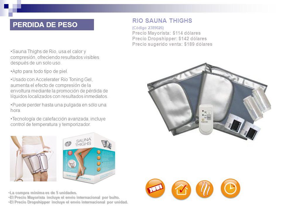 Sauna Thighs de Rio, usa el calor y compresión, ofreciendo resultados visibles después de un solo uso. Apto para todo tipo de piel. Usado con Accelera
