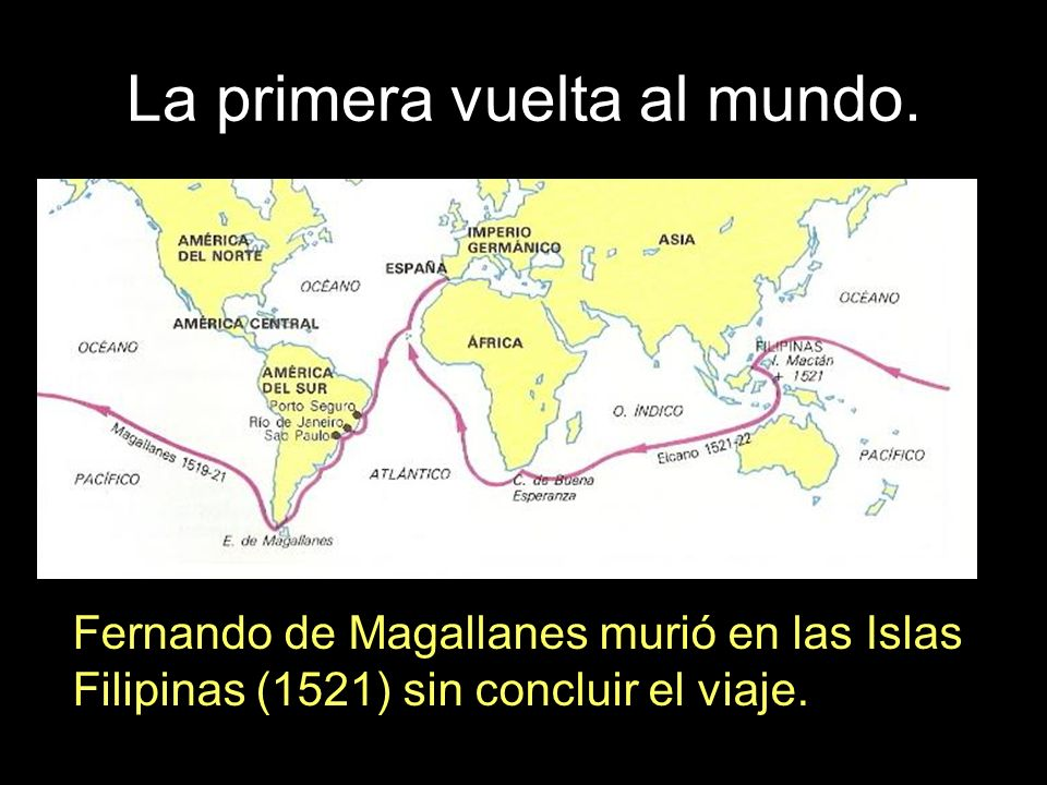 La primera vuelta al mundo. Fernando de Magallanes murió en las Islas Filipinas (1521) sin concluir el viaje.