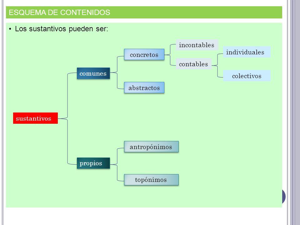 ESQUEMA DE CONTENIDOS Los sustantivos pueden ser: sustantivos comunes concretos incontables contables individuales colectivos abstractos propios antro