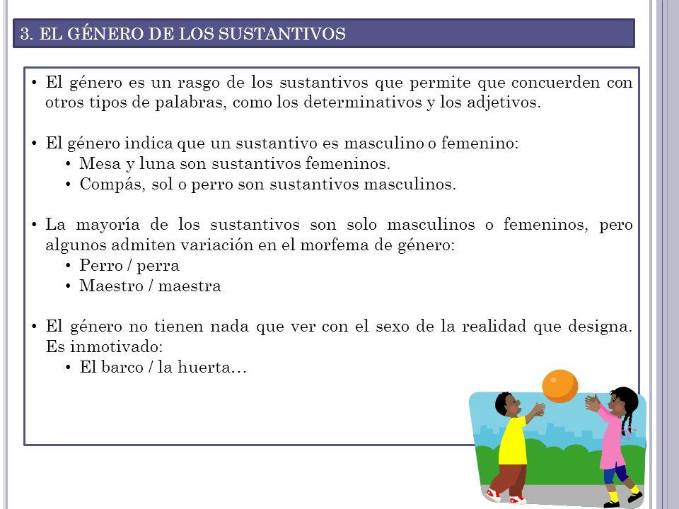 3. EL GÉNERO DE LOS SUSTANTIVOS El género es un rasgo de los sustantivos que permite que concuerden con otros tipos de palabras, como los determinativ