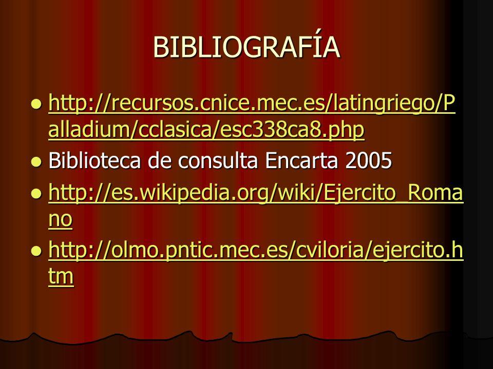 BIBLIOGRAFÍA http://recursos.cnice.mec.es/latingriego/P alladium/cclasica/esc338ca8.php http://recursos.cnice.mec.es/latingriego/P alladium/cclasica/e