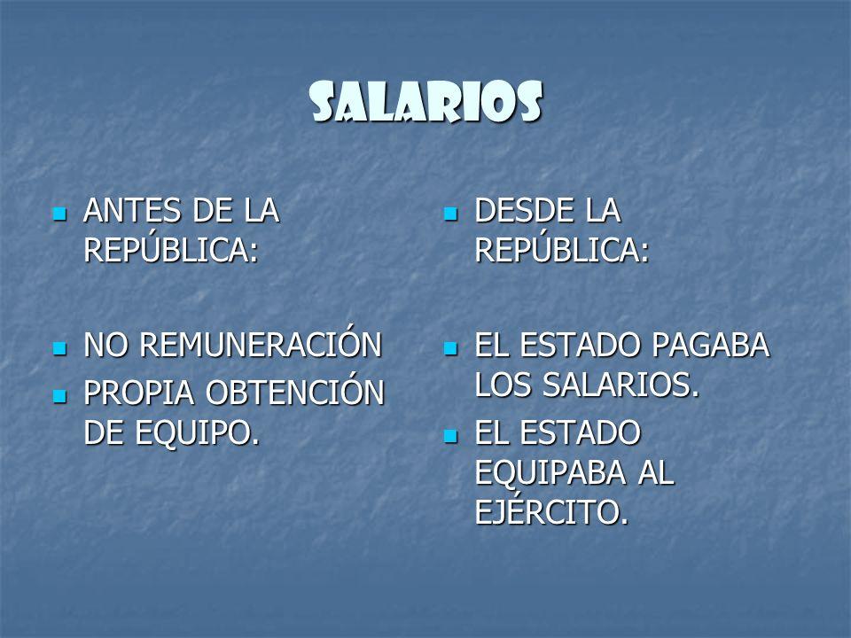 SALARIOS ANTES DE LA REPÚBLICA: ANTES DE LA REPÚBLICA: NO REMUNERACIÓN NO REMUNERACIÓN PROPIA OBTENCIÓN DE EQUIPO. PROPIA OBTENCIÓN DE EQUIPO. DESDE L