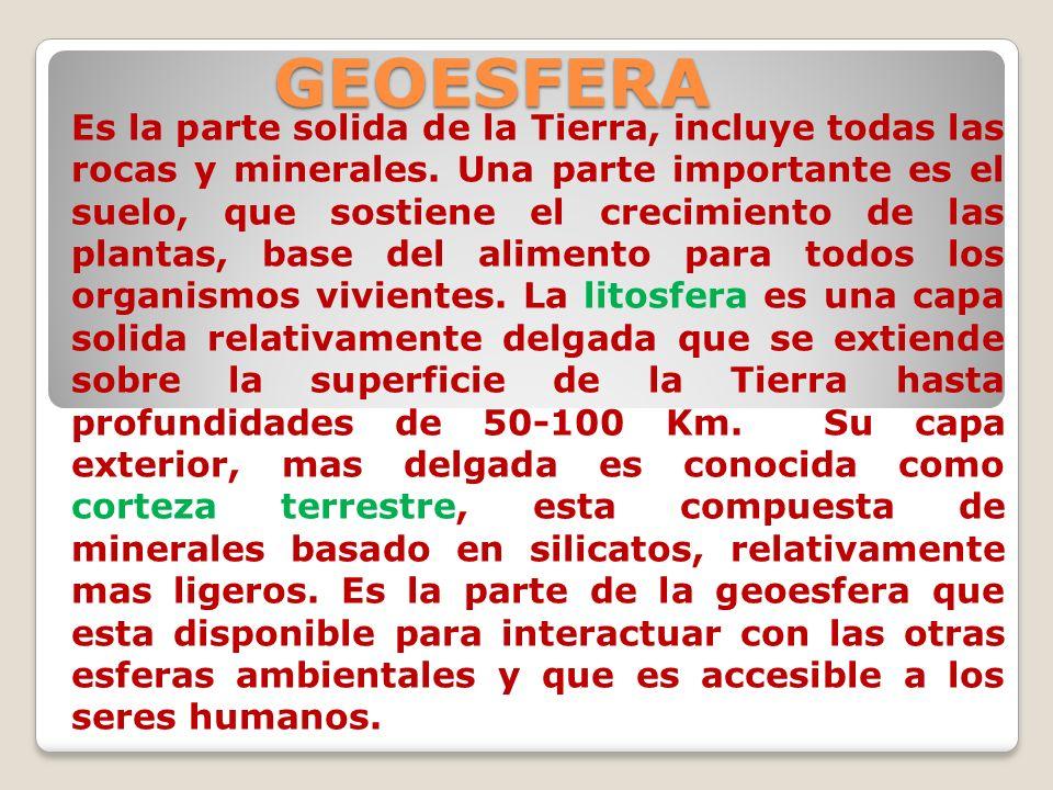 GEOESFERA Es la parte solida de la Tierra, incluye todas las rocas y minerales. Una parte importante es el suelo, que sostiene el crecimiento de las p