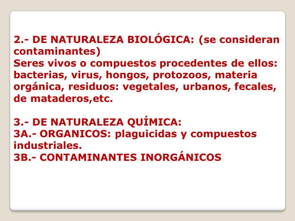 2.- DE NATURALEZA BIOLÓGICA: (se consideran contaminantes) Seres vivos o compuestos procedentes de ellos: bacterias, virus, hongos, protozoos, materia