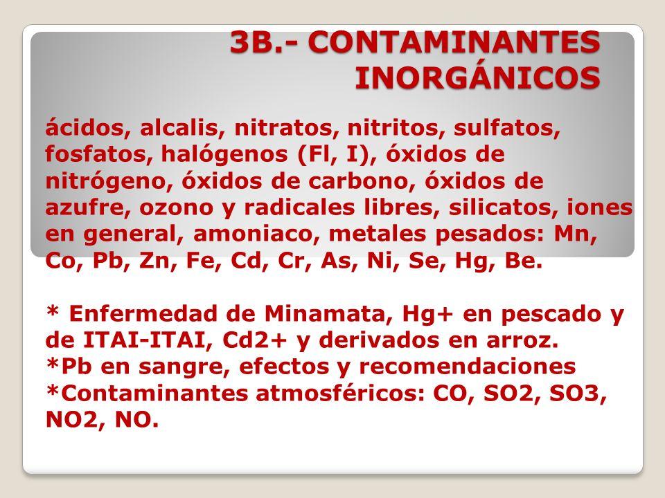 3B.- CONTAMINANTES INORGÁNICOS ácidos, alcalis, nitratos, nitritos, sulfatos, fosfatos, halógenos (Fl, I), óxidos de nitrógeno, óxidos de carbono, óxi