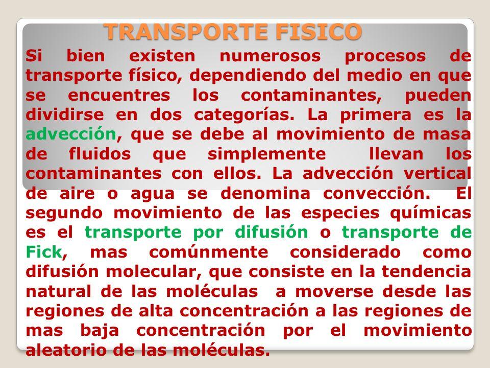 TRANSPORTE FISICO Si bien existen numerosos procesos de transporte físico, dependiendo del medio en que se encuentres los contaminantes, pueden dividi