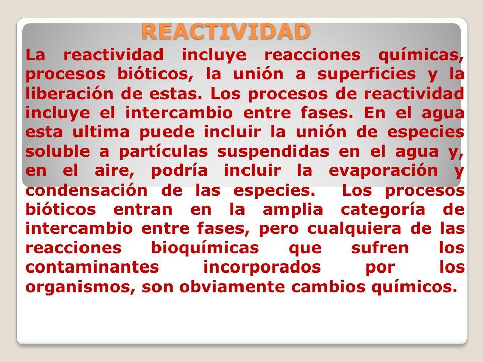 REACTIVIDAD La reactividad incluye reacciones químicas, procesos bióticos, la unión a superficies y la liberación de estas. Los procesos de reactivida