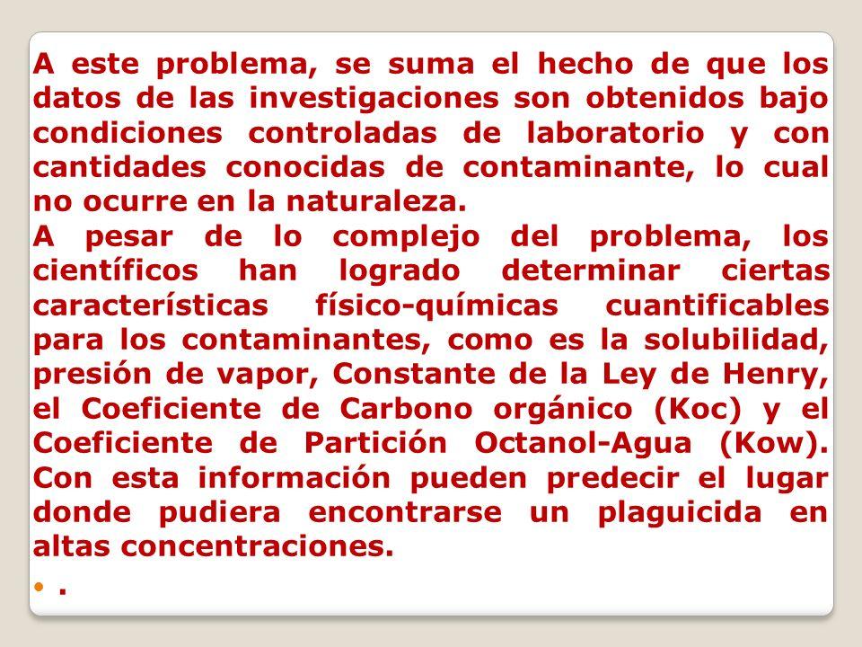A este problema, se suma el hecho de que los datos de las investigaciones son obtenidos bajo condiciones controladas de laboratorio y con cantidades c