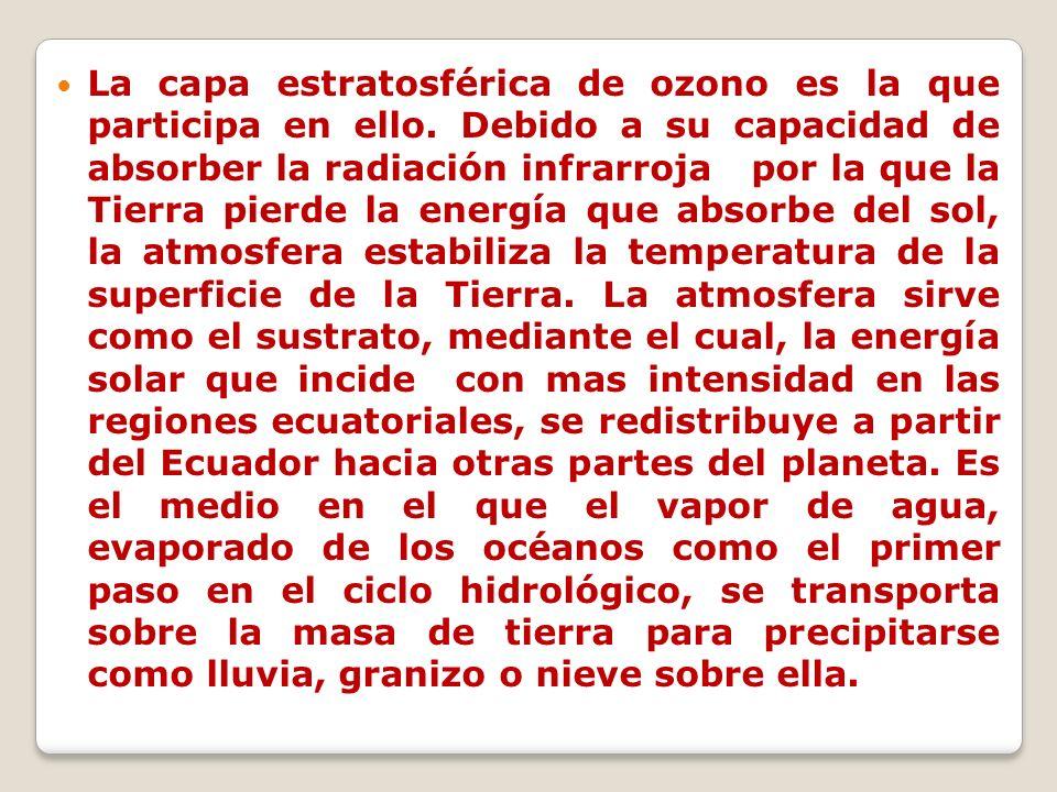 La capa estratosférica de ozono es la que participa en ello. Debido a su capacidad de absorber la radiación infrarroja por la que la Tierra pierde la