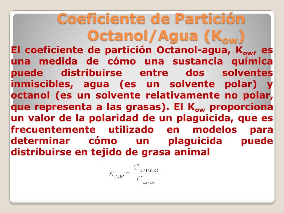 Coeficiente de Partición Octanol/Agua (K ow ) El coeficiente de partición Octanol-agua, K ow, es una medida de cómo una sustancia química puede distri