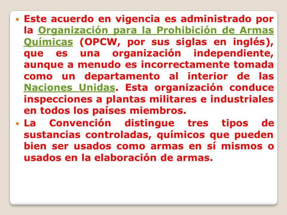 Este acuerdo en vigencia es administrado por la Organización para la Prohibición de Armas Químicas (OPCW, por sus siglas en inglés), que es una organi