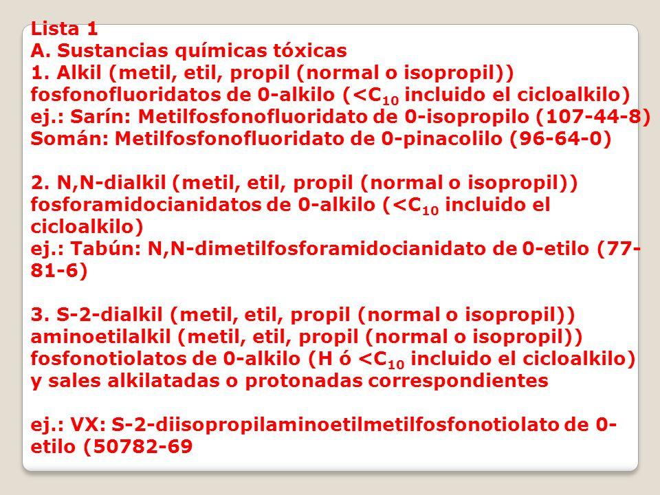 Lista 1 A. Sustancias químicas tóxicas 1. Alkil (metil, etil, propil (normal o isopropil)) fosfonofluoridatos de 0-alkilo (<C 10 incluido el cicloalki