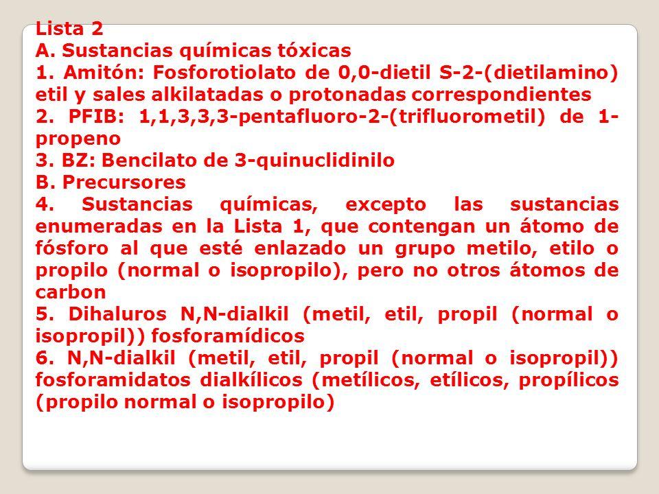 Lista 2 A. Sustancias químicas tóxicas 1. Amitón: Fosforotiolato de 0,0-dietil S-2-(dietilamino) etil y sales alkilatadas o protonadas correspondiente