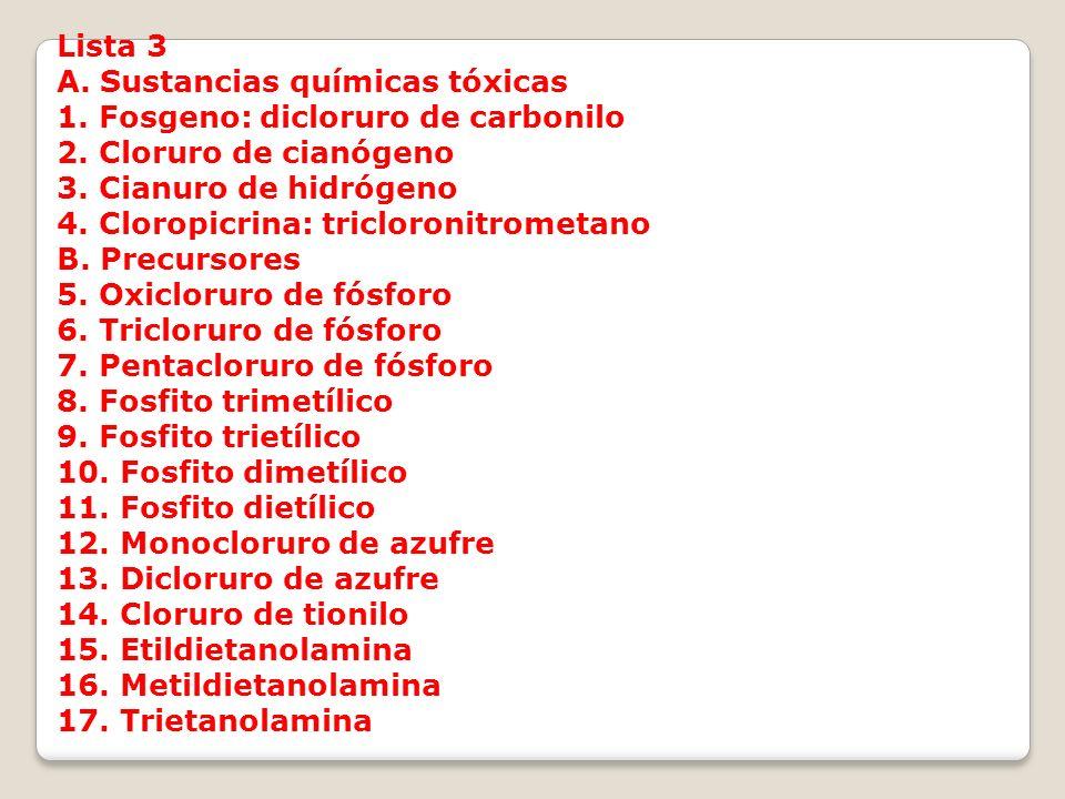 Lista 3 A. Sustancias químicas tóxicas 1. Fosgeno: dicloruro de carbonilo 2. Cloruro de cianógeno 3. Cianuro de hidrógeno 4. Cloropicrina: tricloronit